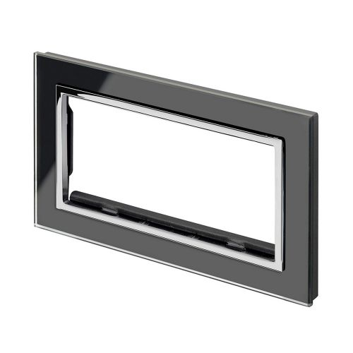 RetroTouch Euro Data Plate Double (4 Module Space) Black Glass CT 00178